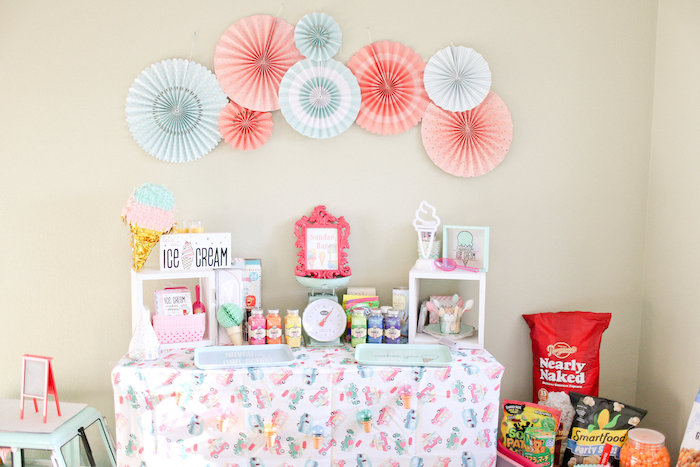 Ice Cream Party Table from a Dolly & Me Sleepover on Kara's Party Ideas | KarasPartyIdeas.com (11)