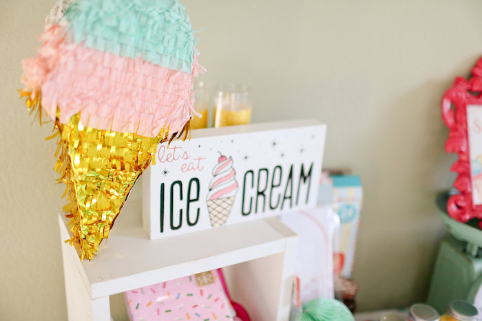 Ice Cream Cone Pinata from a Dolly & Me Sleepover on Kara's Party Ideas | KarasPartyIdeas.com (10)
