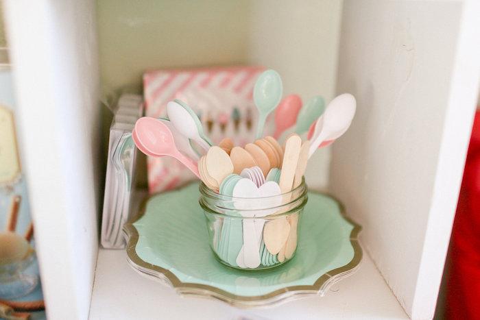 Pastel Spoons from a Dolly & Me Sleepover on Kara's Party Ideas | KarasPartyIdeas.com (9)