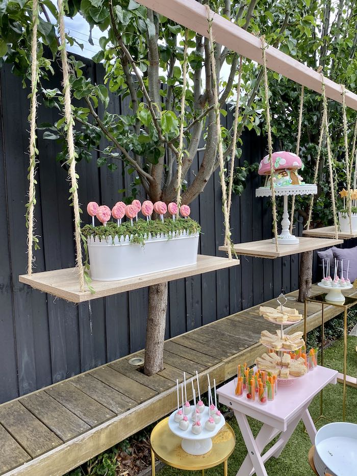 Suspended + Swing Dessert Stands from a Fairy Garden Birthday Party on Kara's Party Ideas | KarasPartyIdeas.com (11)