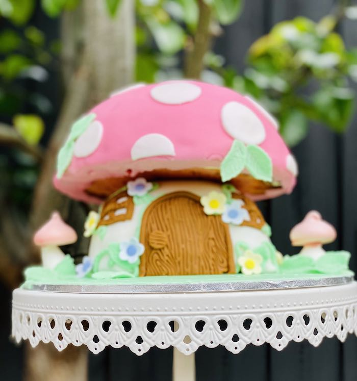 Toadstool Fairy House Cake from a Fairy Garden Birthday Party on Kara's Party Ideas | KarasPartyIdeas.com (10)
