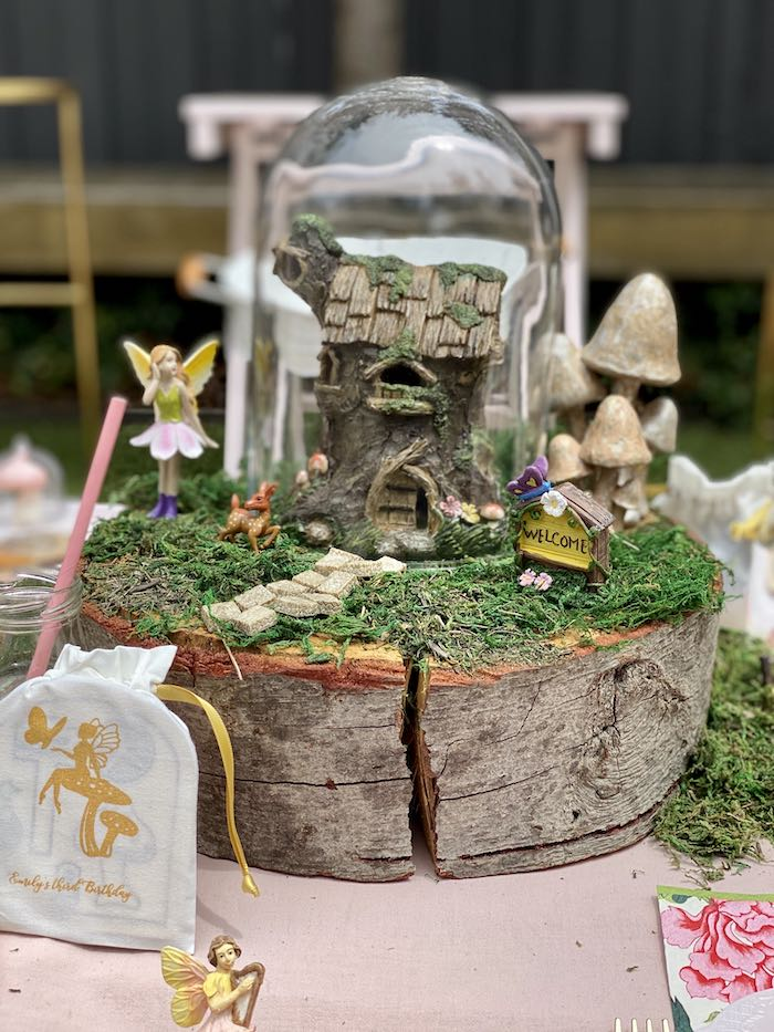 Tree Stump Fairy House Table Centerpiece from a Fairy Garden Birthday Party on Kara's Party Ideas | KarasPartyIdeas.com (26)
