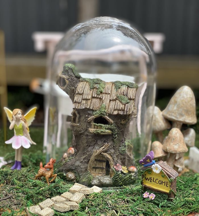 Tree Stump Fairy House Table Centerpiece from a Fairy Garden Birthday Party on Kara's Party Ideas | KarasPartyIdeas.com (25)