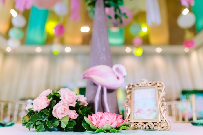 Flamingo Themed Party Table Centerpiece from a Flamingo Birthday Party on Kara's Party Ideas | KarasPartyIdeas.com (26)
