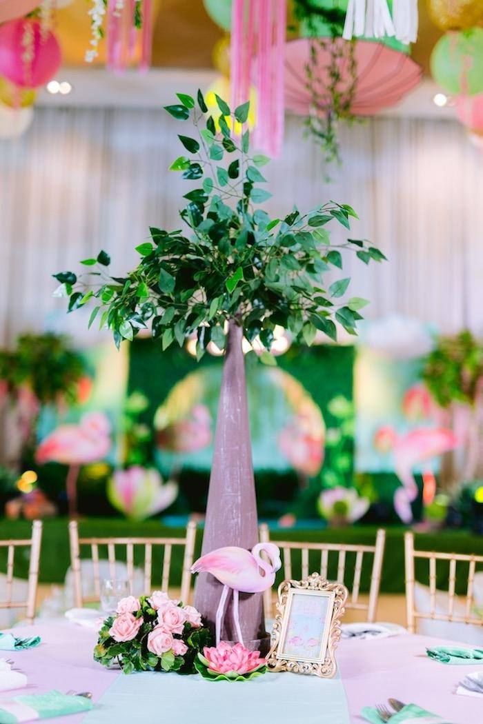 Flamingo Themed Party Table + Centerpiece from a Flamingo Birthday Party on Kara's Party Ideas | KarasPartyIdeas.com (25)