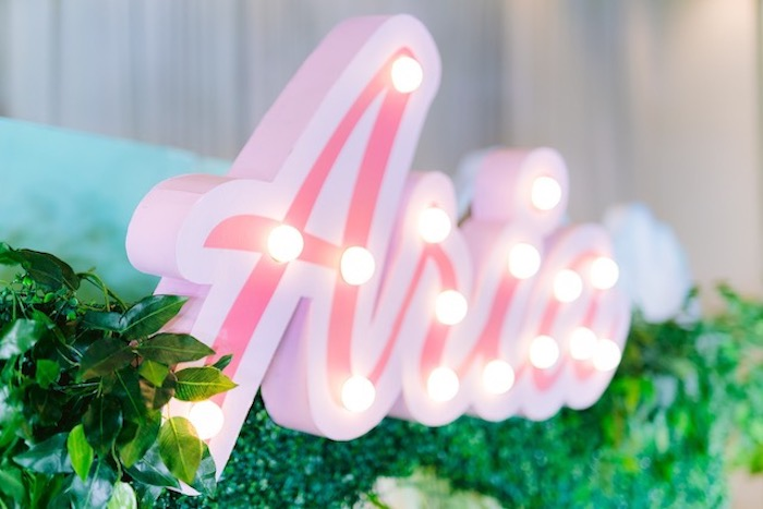 Neon Name Sign from a Flamingo Birthday Party on Kara's Party Ideas | KarasPartyIdeas.com (24)