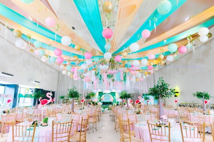 Guest Tables + Partyscape from a Flamingo Birthday Party on Kara's Party Ideas | KarasPartyIdeas.com (17)
