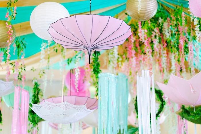 Hanging Umbrellas from a Flamingo Birthday Party on Kara's Party Ideas | KarasPartyIdeas.com (35)