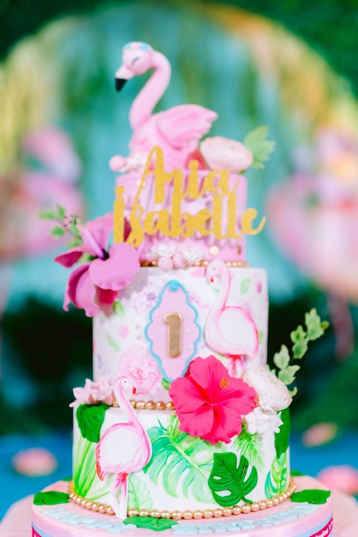 Flamingo Cake from a Flamingo Birthday Party on Kara's Party Ideas | KarasPartyIdeas.com (15)