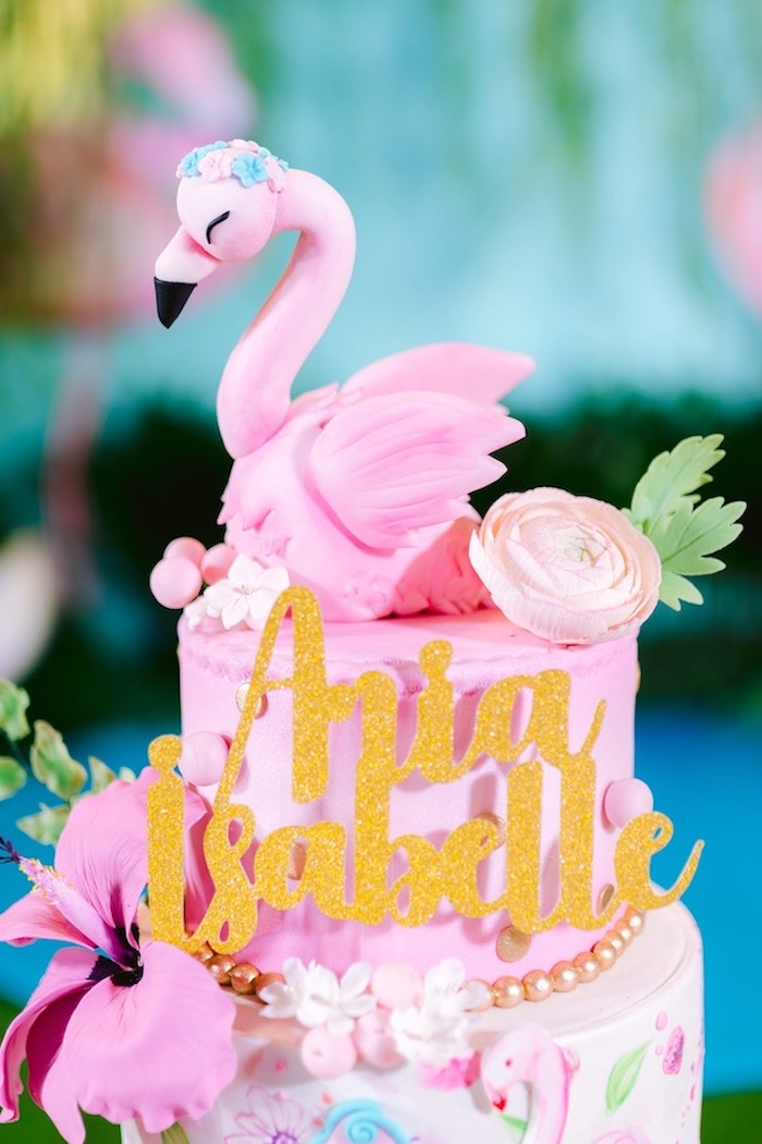 Flamingo Cake from a Flamingo Birthday Party on Kara's Party Ideas | KarasPartyIdeas.com (14)