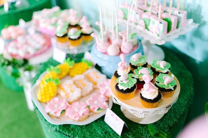 Flamingo Themed Cupcakes + Desserts from a Flamingo Birthday Party on Kara's Party Ideas | KarasPartyIdeas.com (13)
