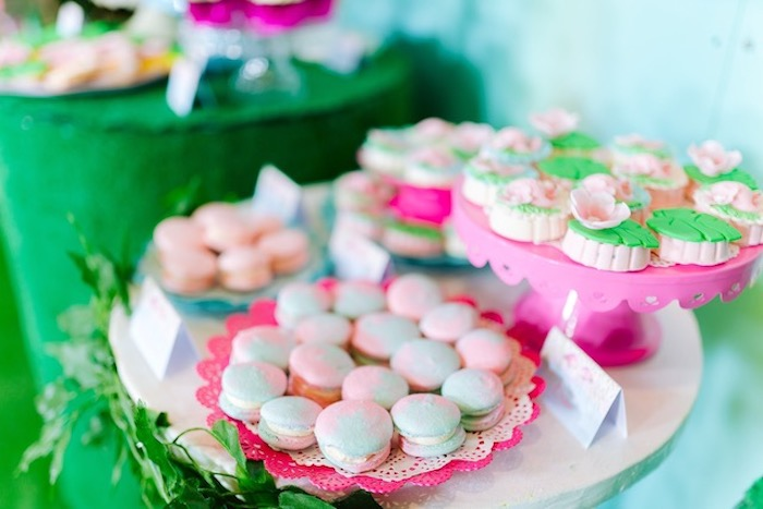 Pink and Green Macarons from a Flamingo Birthday Party on Kara's Party Ideas | KarasPartyIdeas.com (12)