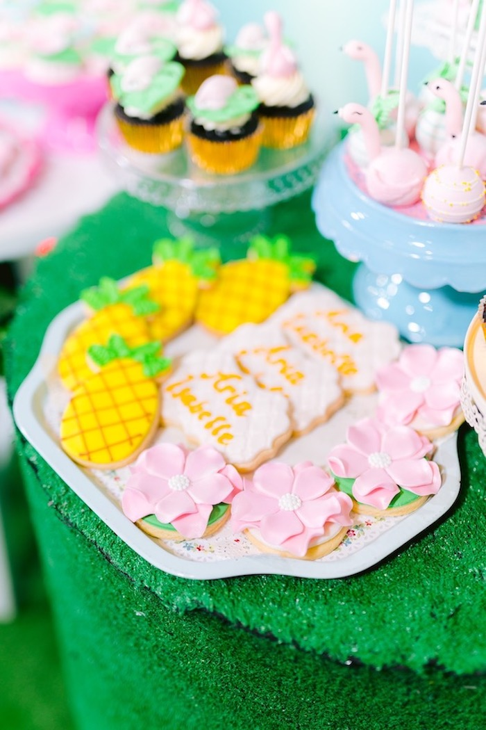 Tropical Themed Sugar Cookies from a Flamingo Birthday Party on Kara's Party Ideas | KarasPartyIdeas.com (8)