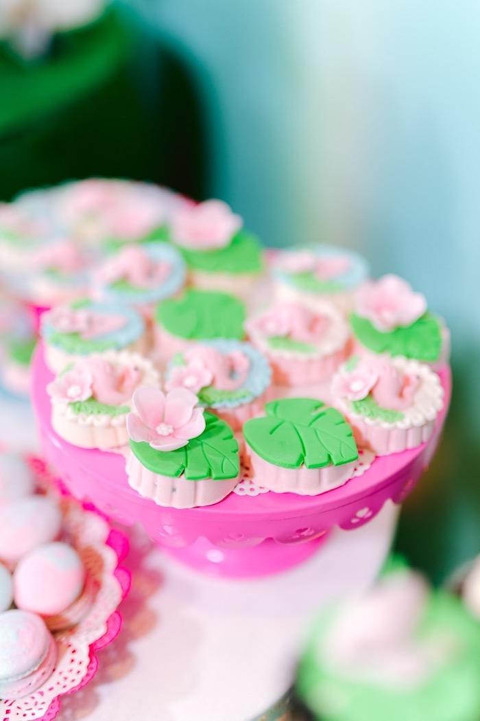 Tropical Leaf Oreos from a Flamingo Birthday Party on Kara's Party Ideas | KarasPartyIdeas.com (7)