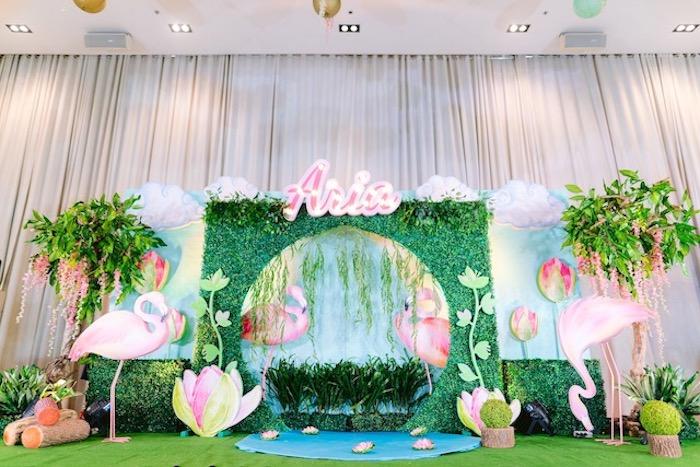 Flamingo Lagoon Backdrop + Photo Booth from a Flamingo Birthday Party on Kara's Party Ideas | KarasPartyIdeas.com (34)