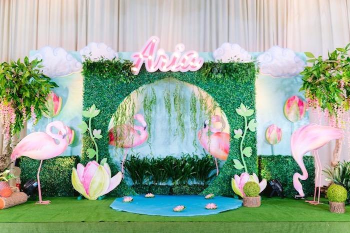 Flamingo Lagoon Backdrop + Photo Booth from a Flamingo Birthday Party on Kara's Party Ideas | KarasPartyIdeas.com (33)