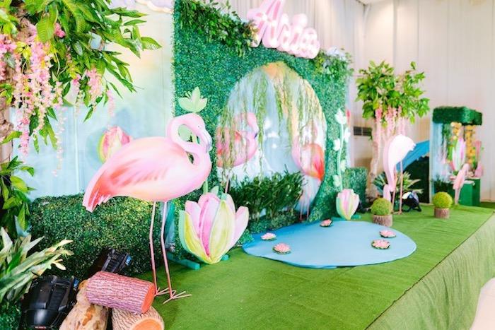 Flamingo Lagoon Backdrop + Photo Booth from a Flamingo Birthday Party on Kara's Party Ideas | KarasPartyIdeas.com (32)