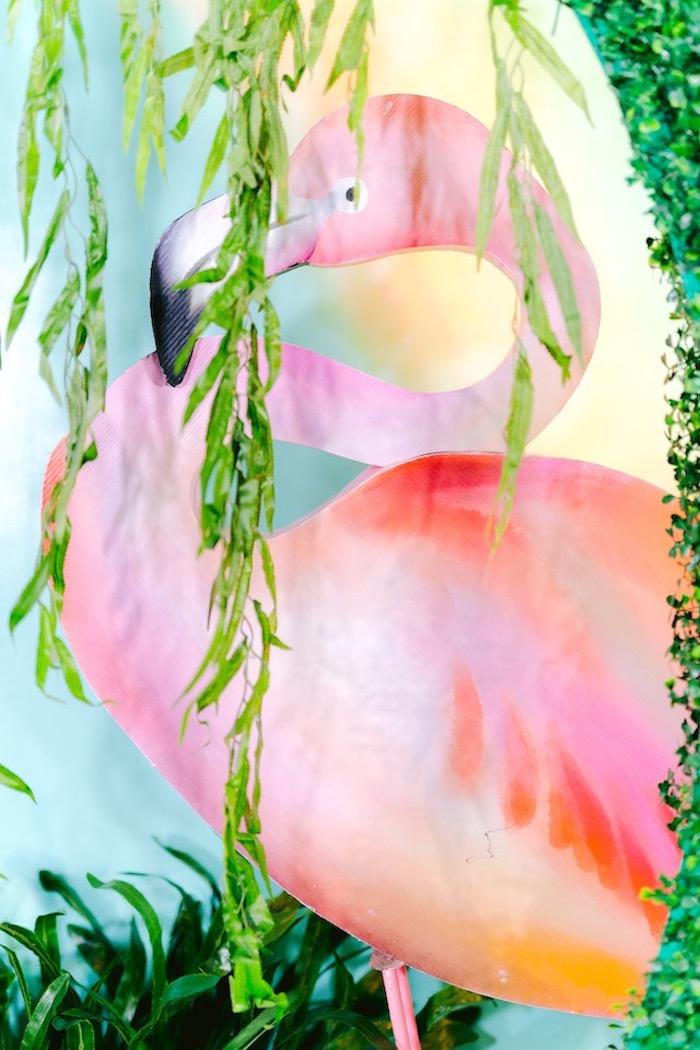 Flamingo Backdrop from a Flamingo Birthday Party on Kara's Party Ideas | KarasPartyIdeas.com (31)