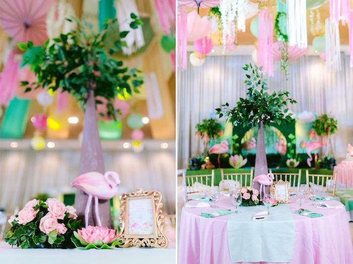 Flamingo Themed Guest Table from a Flamingo Birthday Party on Kara's Party Ideas | KarasPartyIdeas.com (29)