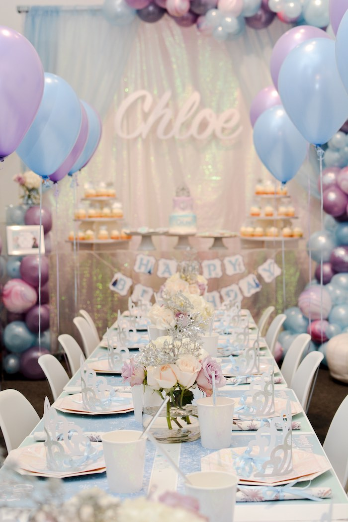 Frozen Themed Guest Table from a Frozen Birthday Party on Kara's Party Ideas | KarasPartyIdeas.com (13)