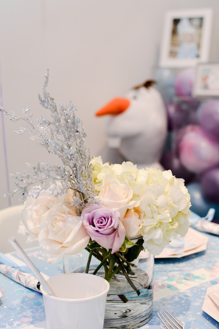 Winter-inspired Floral Centerpiece from a Frozen Birthday Party on Kara's Party Ideas | KarasPartyIdeas.com (12)
