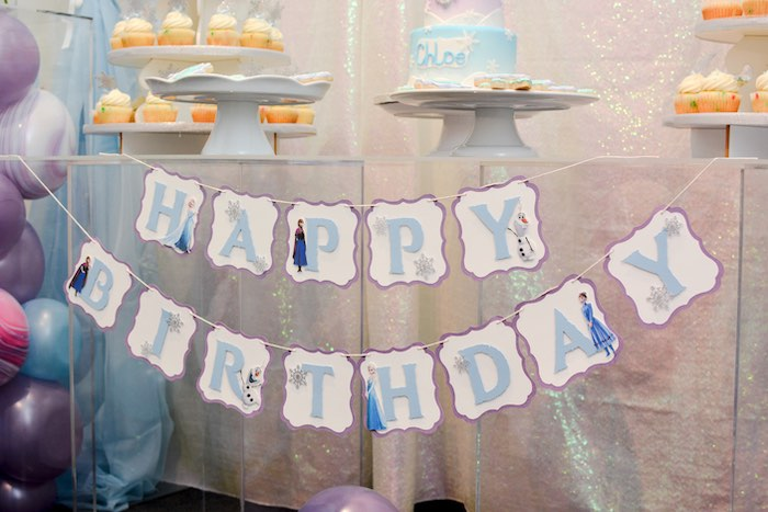 Frozen-inspired Happy Birthday Banner from a Frozen Birthday Party on Kara's Party Ideas | KarasPartyIdeas.com (11)