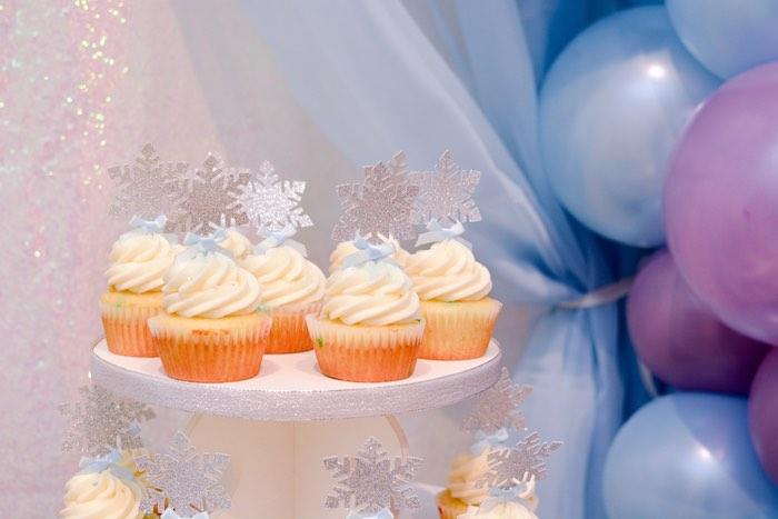 Snowflake Cupcakes from a Frozen Birthday Party on Kara's Party Ideas | KarasPartyIdeas.com (10)