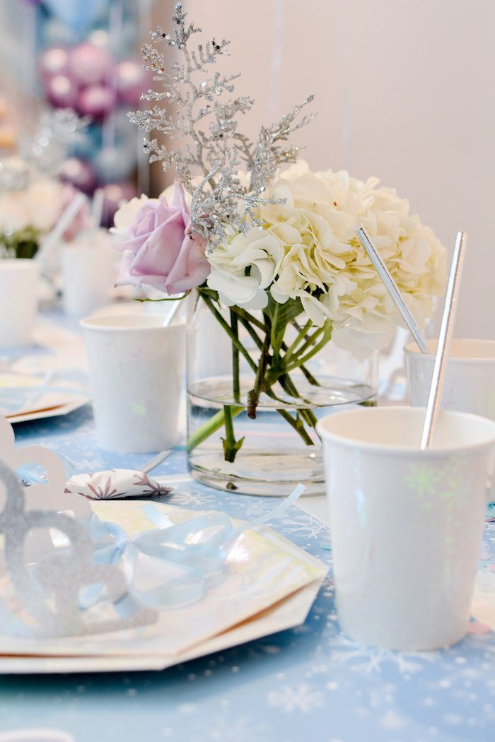 Winter-inspired Floral Centerpiece from a Frozen Birthday Party on Kara's Party Ideas | KarasPartyIdeas.com (21)