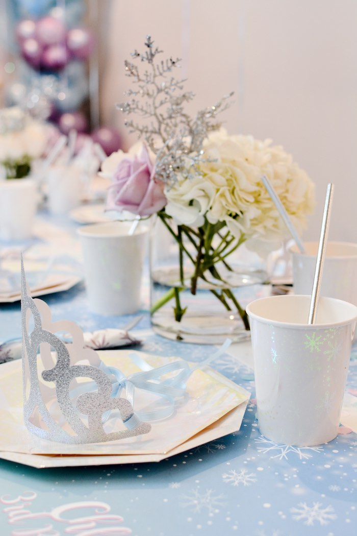 White Iridescent Partyware + Table Setting from a Frozen Birthday Party on Kara's Party Ideas | KarasPartyIdeas.com (20)