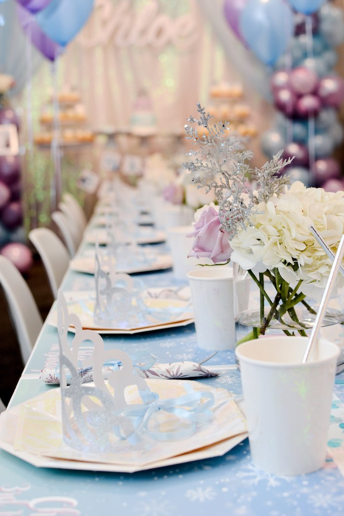 Frozen Themed Guest Table + Table Settings from a Frozen Birthday Party on Kara's Party Ideas | KarasPartyIdeas.com (19)