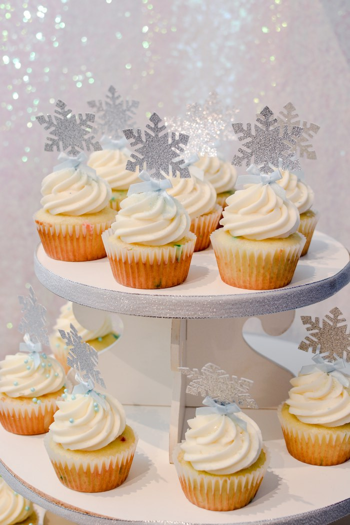 Snowflake Cupcakes from a Frozen Birthday Party on Kara's Party Ideas | KarasPartyIdeas.com (18)