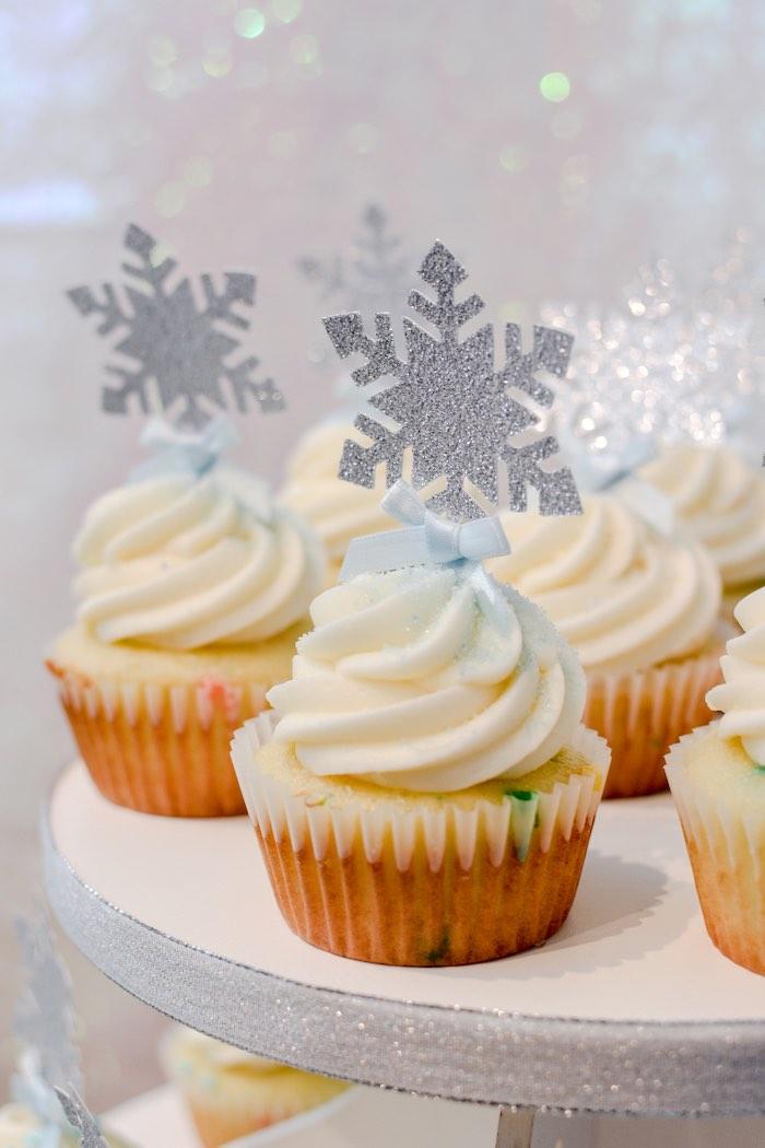 Snowflake Cupcakes from a Frozen Birthday Party on Kara's Party Ideas | KarasPartyIdeas.com (17)