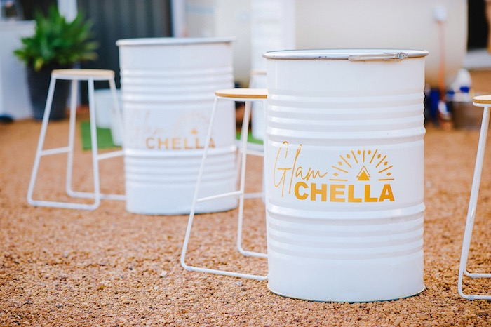 Barrel Tables from a Glamchella Boho 21st Birthday Party on Kara's Party Ideas | KarasPartyIdeas.com (16)