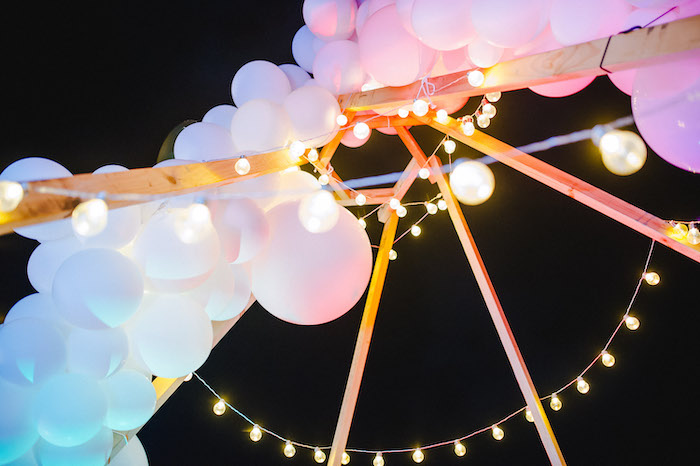 Balloon Install and Twinkle Lights from a Glamchella Boho 21st Birthday Party on Kara's Party Ideas | KarasPartyIdeas.com (8)