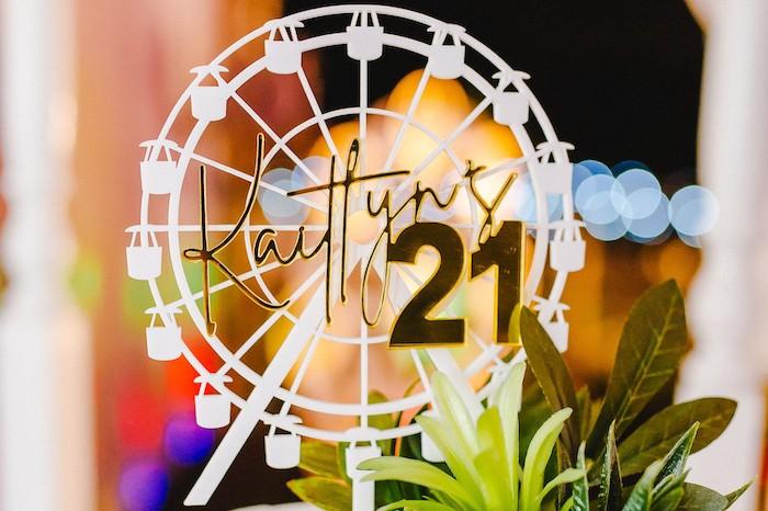 Ferris Wheel Sign from a Glamchella Boho 21st Birthday Party on Kara's Party Ideas | KarasPartyIdeas.com (7)