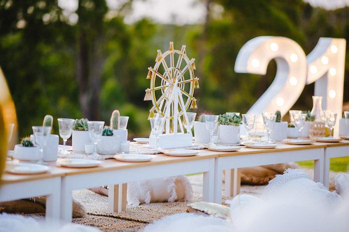 Guest Table from a Glamchella Boho 21st Birthday Party on Kara's Party Ideas | KarasPartyIdeas.com (23)