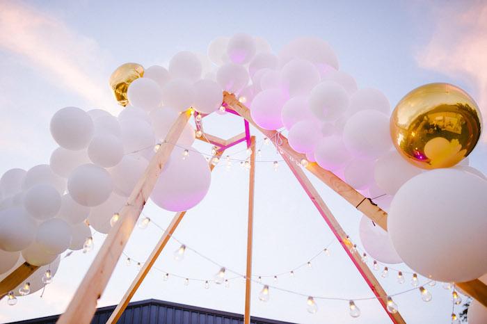 Balloon & Twinkle Light Install from a Glamchella Boho 21st Birthday Party on Kara's Party Ideas | KarasPartyIdeas.com (21)