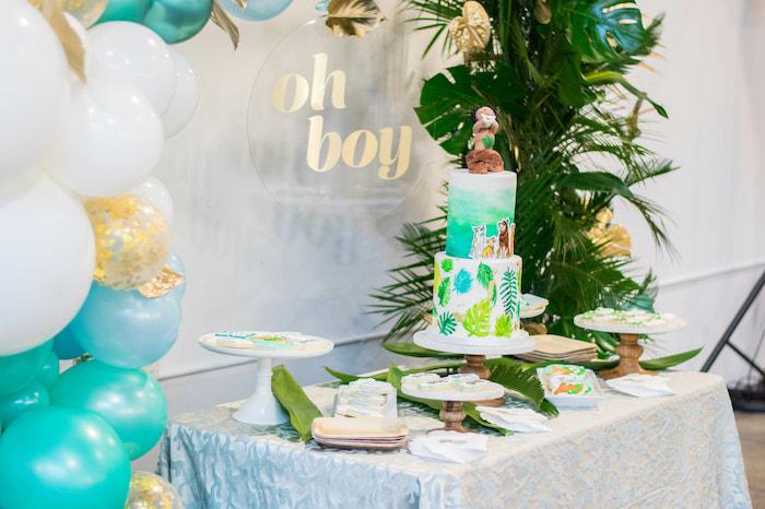 Tropical Themed Dessert Table from an Island Baby Shower on Kara's Party Ideas | KarasPartyIdeas.com (23)