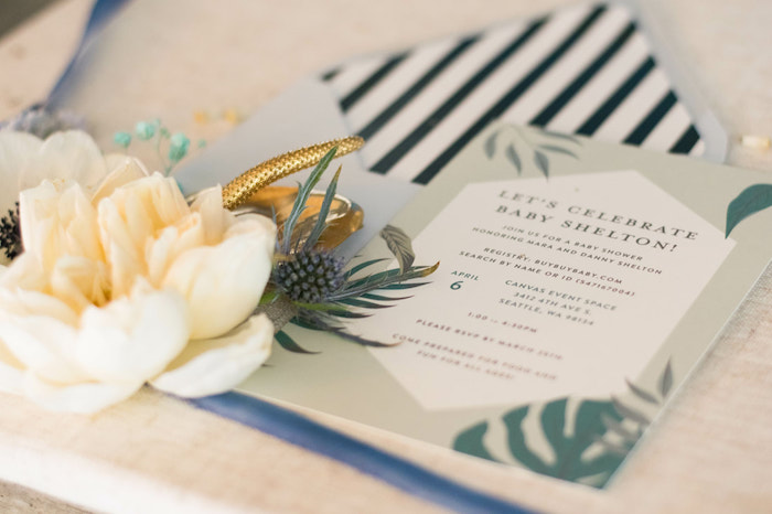 Tropical Leaf Party Invite from an Island Baby Shower on Kara's Party Ideas | KarasPartyIdeas.com (20)