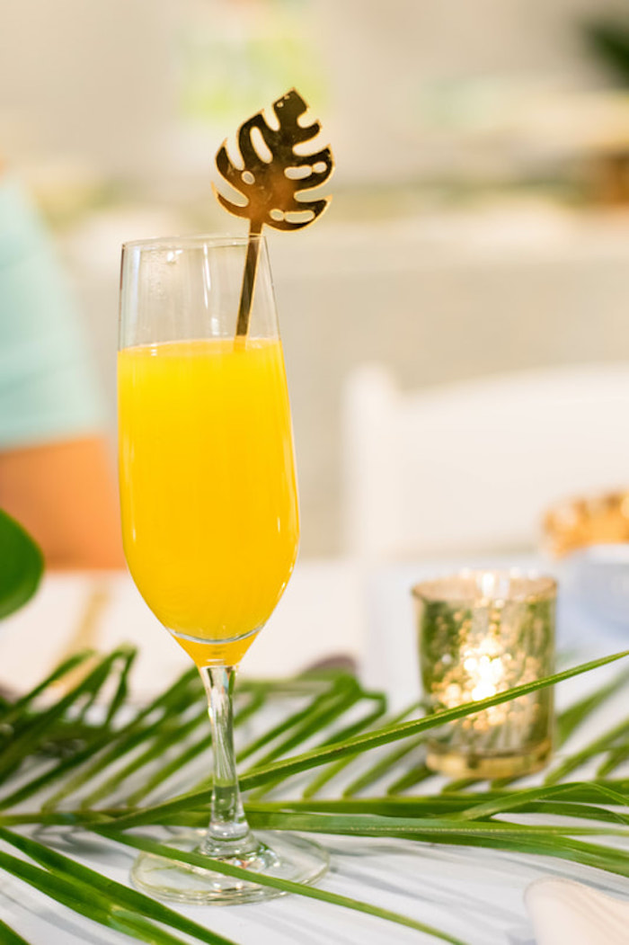 Tropical Leaf Drink Stirrer from an Island Baby Shower on Kara's Party Ideas | KarasPartyIdeas.com (17)