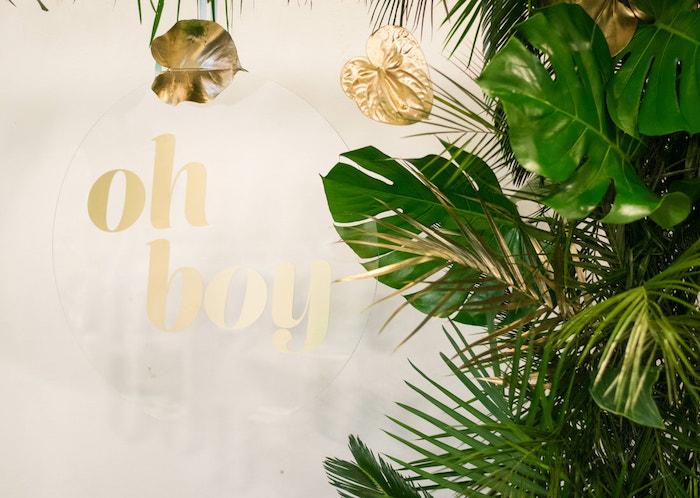 Oh Boy Acrylic Sign from an Island Baby Shower on Kara's Party Ideas | KarasPartyIdeas.com (16)