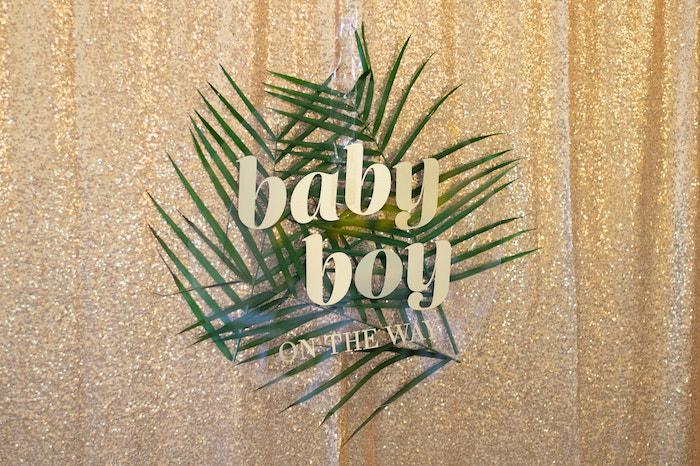 Tropical Leaf Acrylic Sign from an Island Baby Shower on Kara's Party Ideas | KarasPartyIdeas.com (15)
