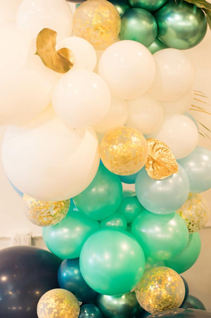 Tropical Glam Balloon Install from an Island Baby Shower on Kara's Party Ideas | KarasPartyIdeas.com (14)