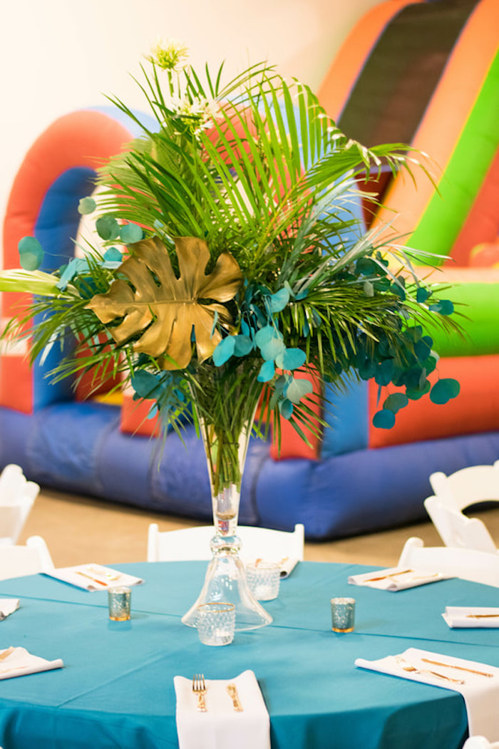 Tropical Bloom Table Centerpiece from an Island Baby Shower on Kara's Party Ideas | KarasPartyIdeas.com (12)