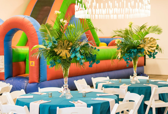 Tropical Party Tables from an Island Baby Shower on Kara's Party Ideas | KarasPartyIdeas.com (11)