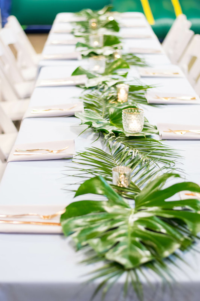 Tropical Guest Table + Monstera Leaf Runner from an Island Baby Shower on Kara's Party Ideas | KarasPartyIdeas.com (10)