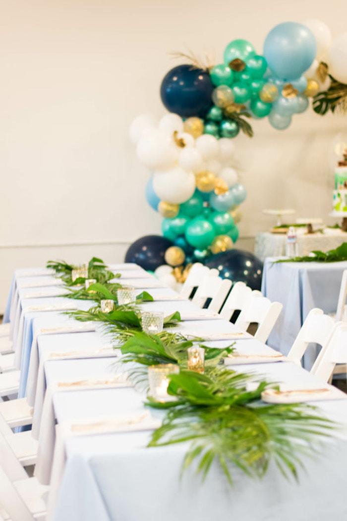 Tropical Guest Table from an Island Baby Shower on Kara's Party Ideas | KarasPartyIdeas.com (9)