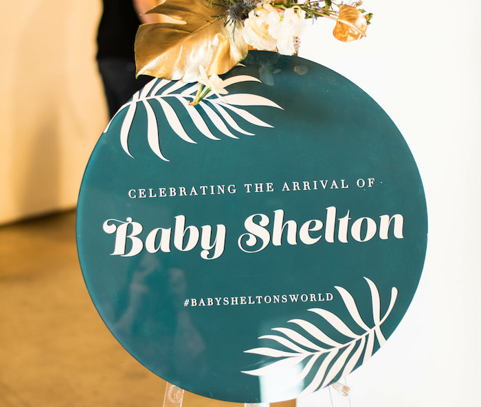 Modern Tropical Welcome Sign from an Island Baby Shower on Kara's Party Ideas | KarasPartyIdeas.com (8)