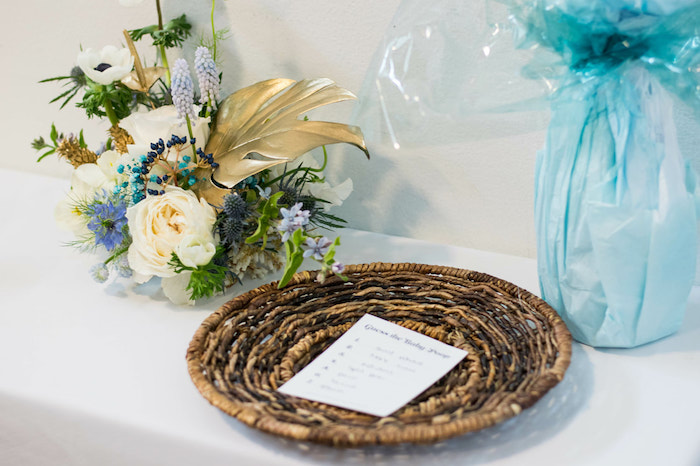 Woven Basket + Tropical Blooms from an Island Baby Shower on Kara's Party Ideas | KarasPartyIdeas.com (33)
