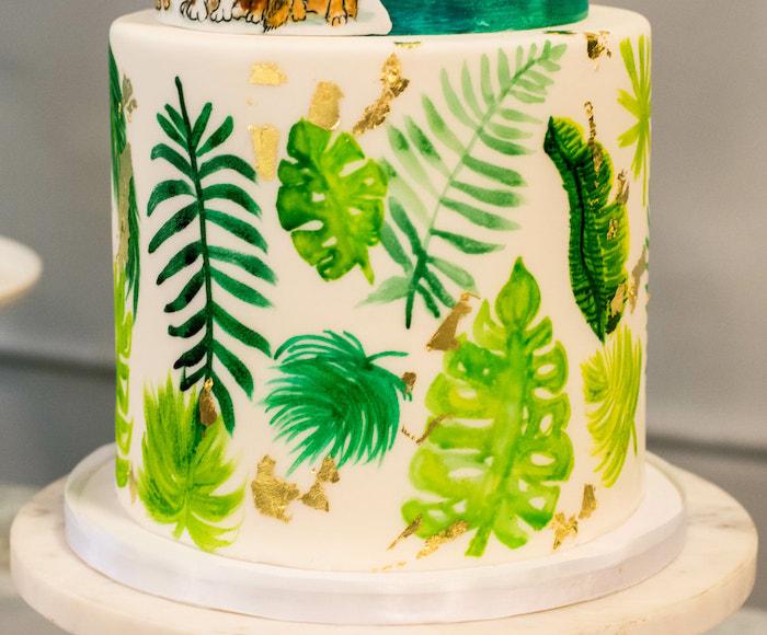 Tropical Leaf Cake from an Island Baby Shower on Kara's Party Ideas | KarasPartyIdeas.com (31)